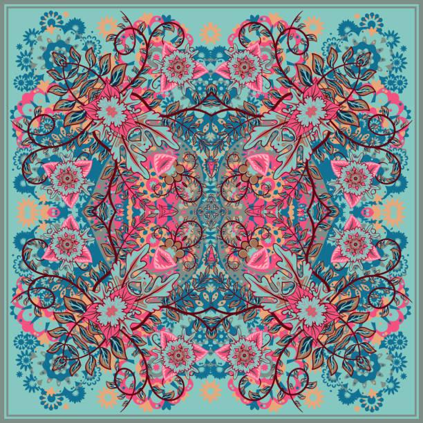 ilustrações de stock, clip art, desenhos animados e ícones de authentic seda lenço do pescoço ou kerchief design quadrado padrão - lenço do pescoço