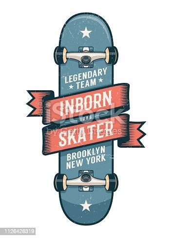 Authentic skateboarding logo in old school style. Classic Skateboard with heraldic ribbon and inscriptions. Worn textures on separate layer.