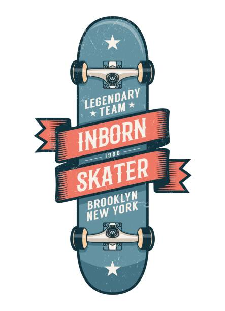 Authentic skateboarding logo in old school style Authentic skateboarding logo in old school style. Classic Skateboard with heraldic ribbon and inscriptions. Worn textures on separate layer. skate stock illustrations