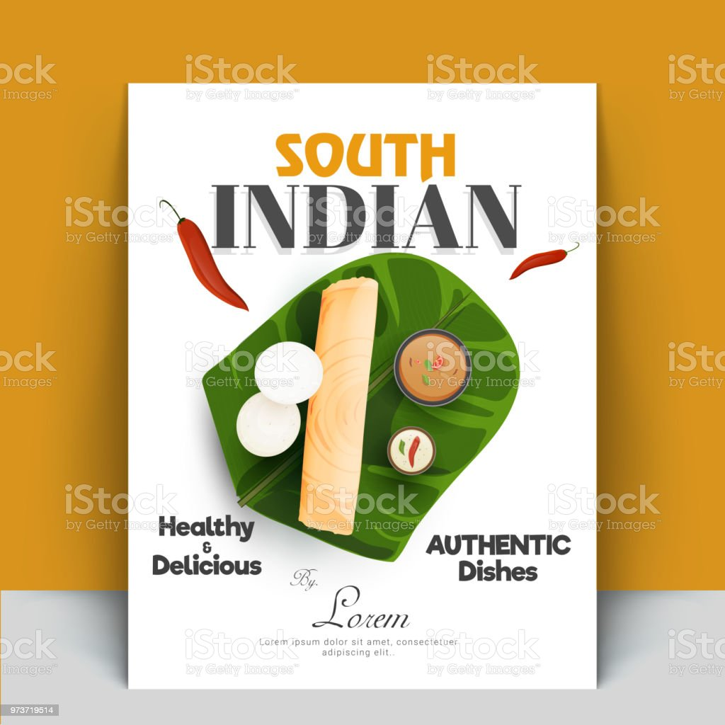 Authentique cuisinier Inde du Sud livre recette livre couverture conceptions ou masala dosa, sambhar, chutney de noix de coco et idli. - Illustration vectorielle