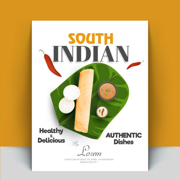 authentic south indian cook book or recipe book cover designs with masala dosa, sambhar, coconut chutney, and idli. - indian food stock illustrations, clip art, cartoons, & icons