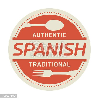 Abstract stamp or label with the text Authentic Spanish Cuisine written inside, vector illustration
