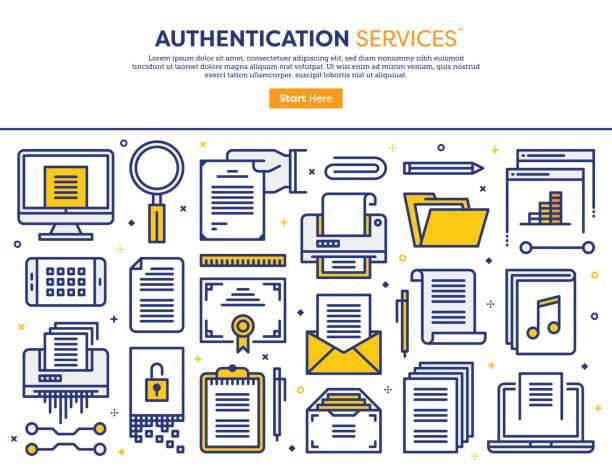 illustrations, cliparts, dessins animés et icônes de notion de services d'authentification - notaire