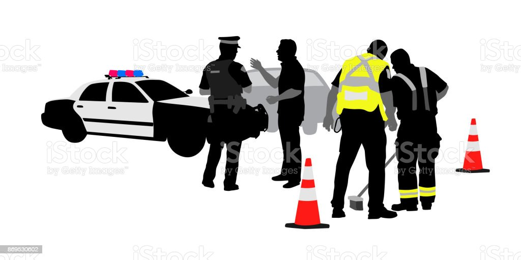 Authorities Arrive vector art illustration