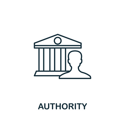 Authority outline icon. Thin line concept element from content icons collection. Creative Authority icon for mobile apps and web usage