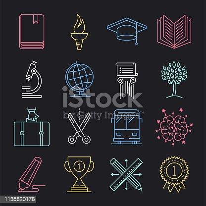 istock Authority, Responsibility & Education Neon Style Vector Icon Set 1135820176