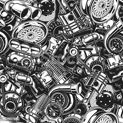 istock Autimobile car parts seamless pattern 652997680