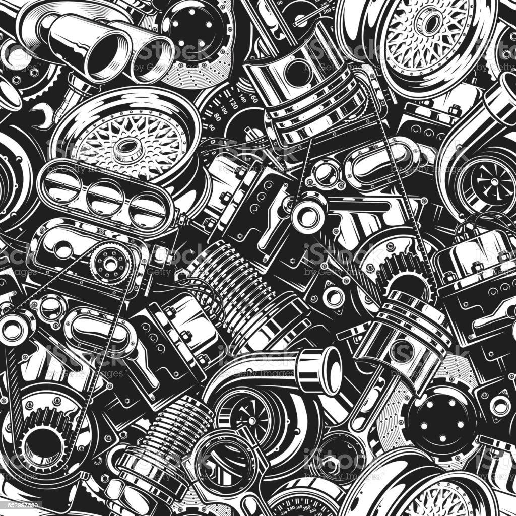 Autimobile car parts seamless pattern vector art illustration