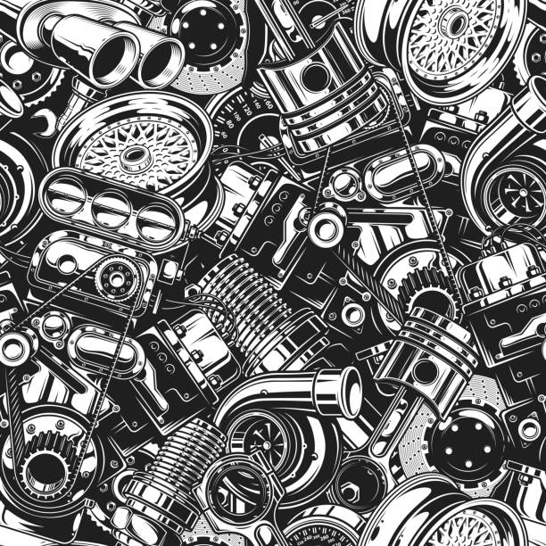 autimobile car parts seamless pattern - mechanic stock illustrations, clip art, cartoons, & icons