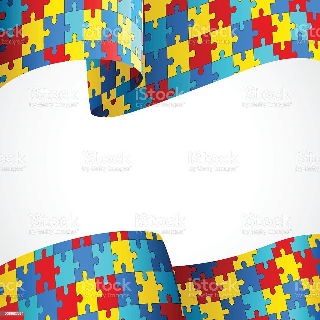 Quebra-cabeça colorido bandeira da Consciencialização do Autismo - ilustração de arte em vetor