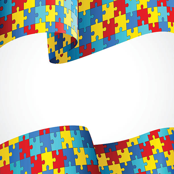 Autism Awareness Colorful Puzzle Flag vector art illustration