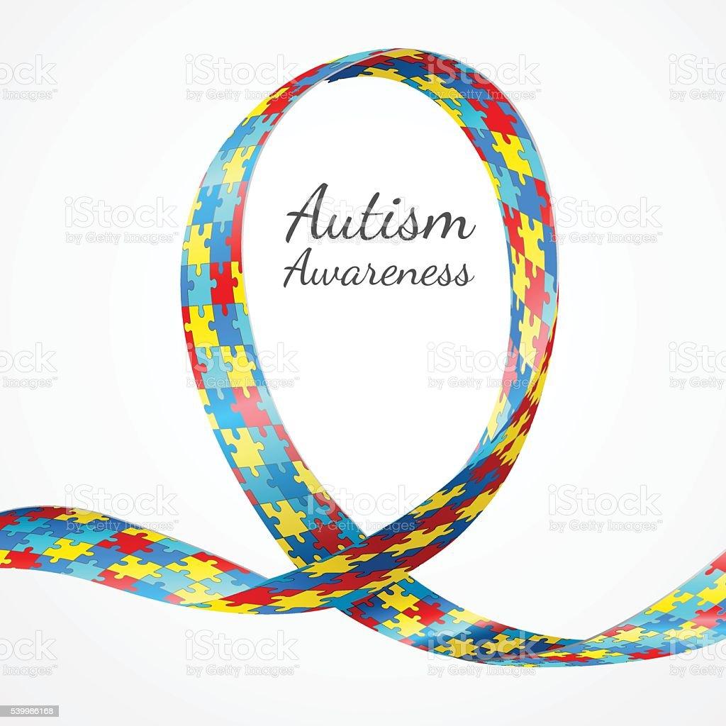 Autism Awareness Colorful Puzzle Ribbon