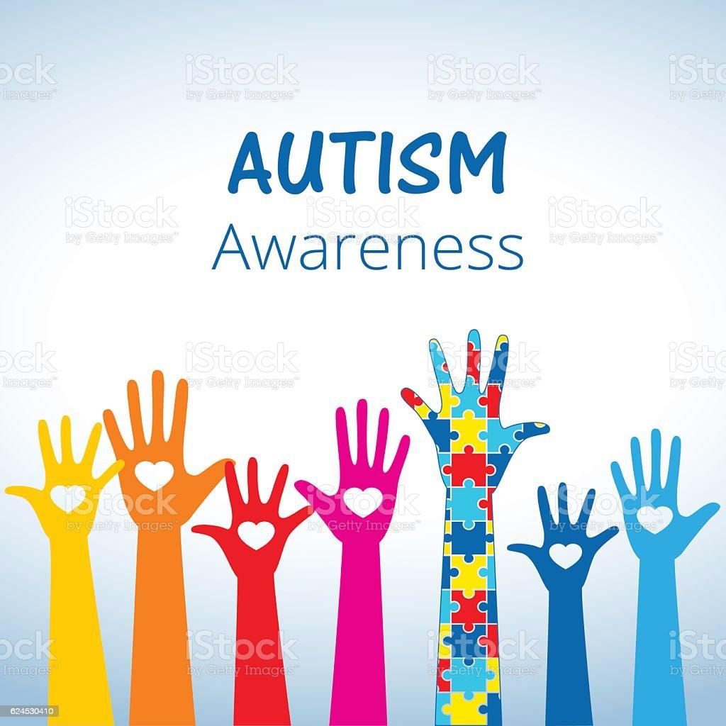 Autism awareness concept with hand of puzzle pieces - ilustração de arte em vetor