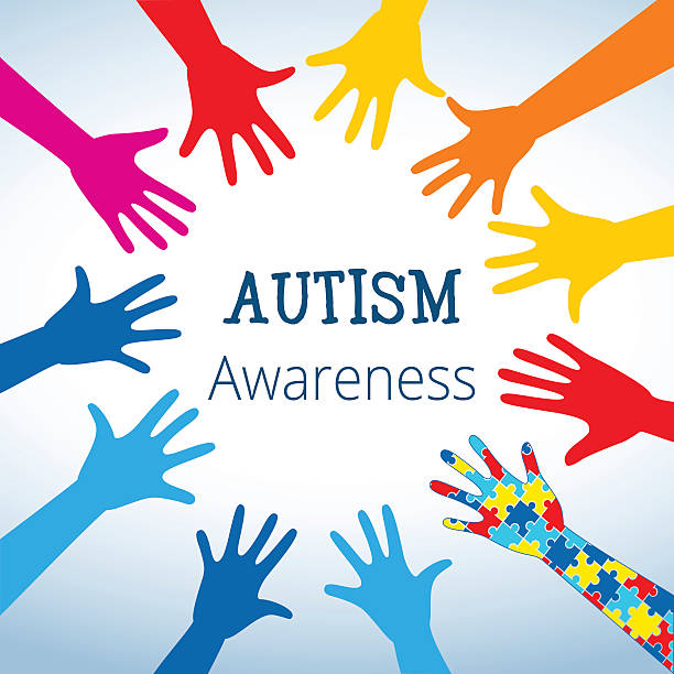 Autism awareness concept with hand of puzzle pieces vector art illustration