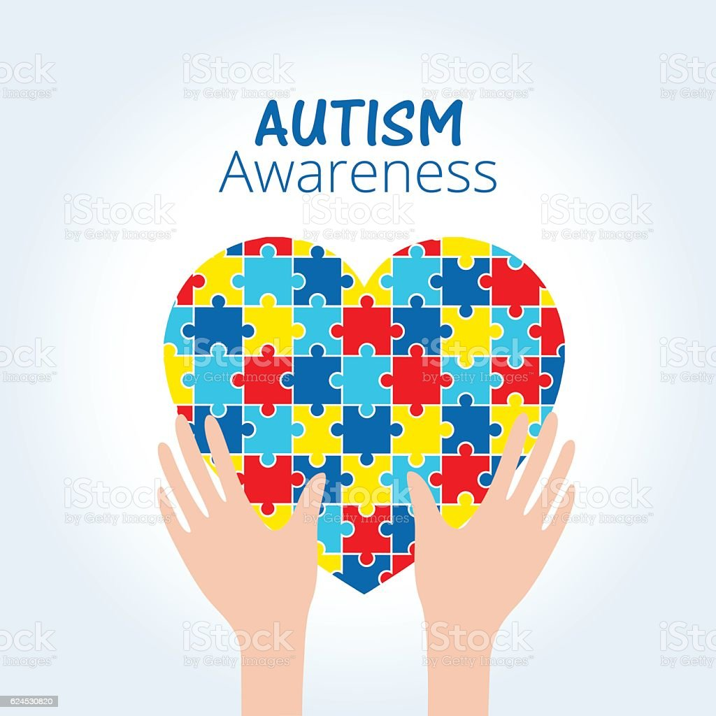 Autism awareness concept with heart of puzzle pieces vector art illustration