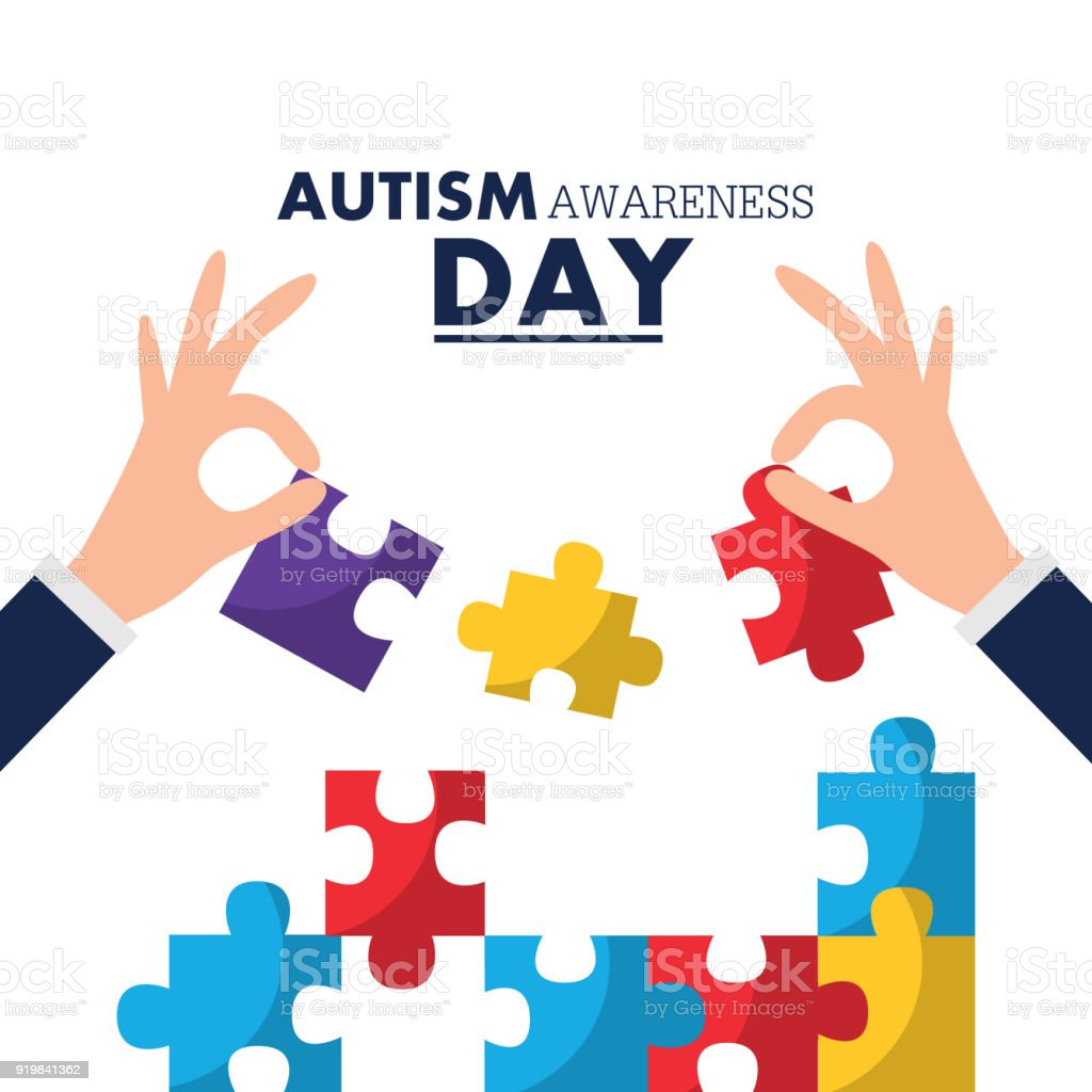 autism awareness day card solidarity event vector art illustration
