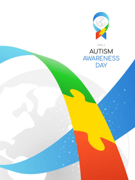 Autism Awareness Day. Colorful illustration on white background. Puzzle - symbol of the event. vector art illustration