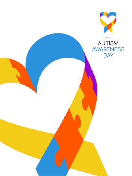 ilustraciones, imágenes clip art, dibujos animados e iconos de stock de día de concientización sobre el autismo. ilustración colorida sobre fondo blanco. puzzle - símbolo del evento. - autism