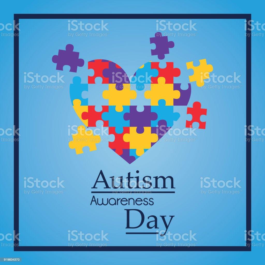 forma de coração do autismo consciência dias quebra-cabeça colorido - ilustração de arte em vetor