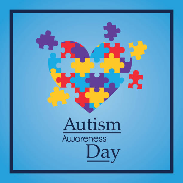 autism awareness day colorful puzzle heart shape vector art illustration