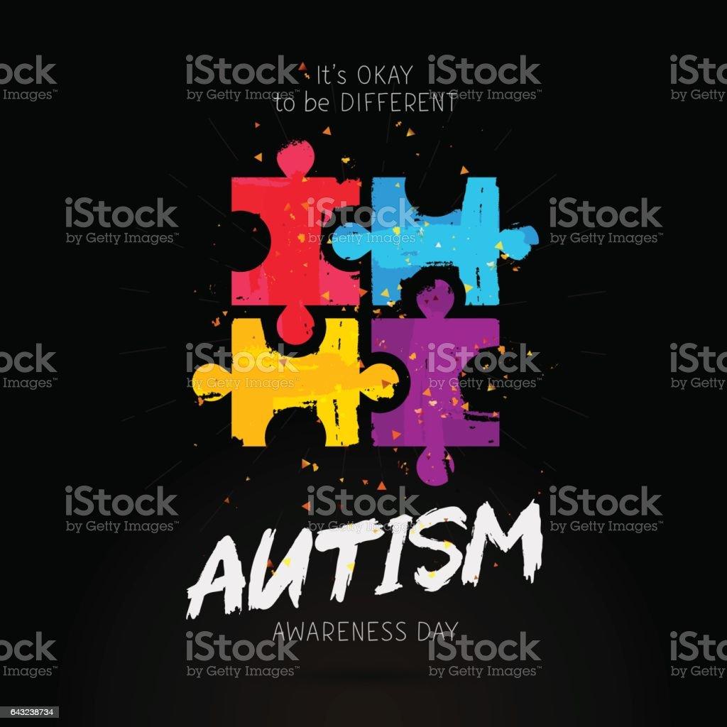 Dia de conscientização do autismo. É okey ser diferente - ilustração de arte em vetor