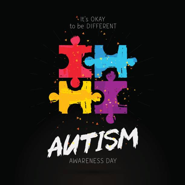 Autism Awareness Day. It's okay to be different vector art illustration