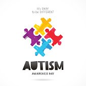Autism Awareness Day. Multicolored puzzle