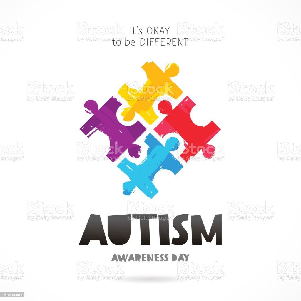 Dia de conscientização do autismo. Quebra-cabeça colorido - ilustração de arte em vetor