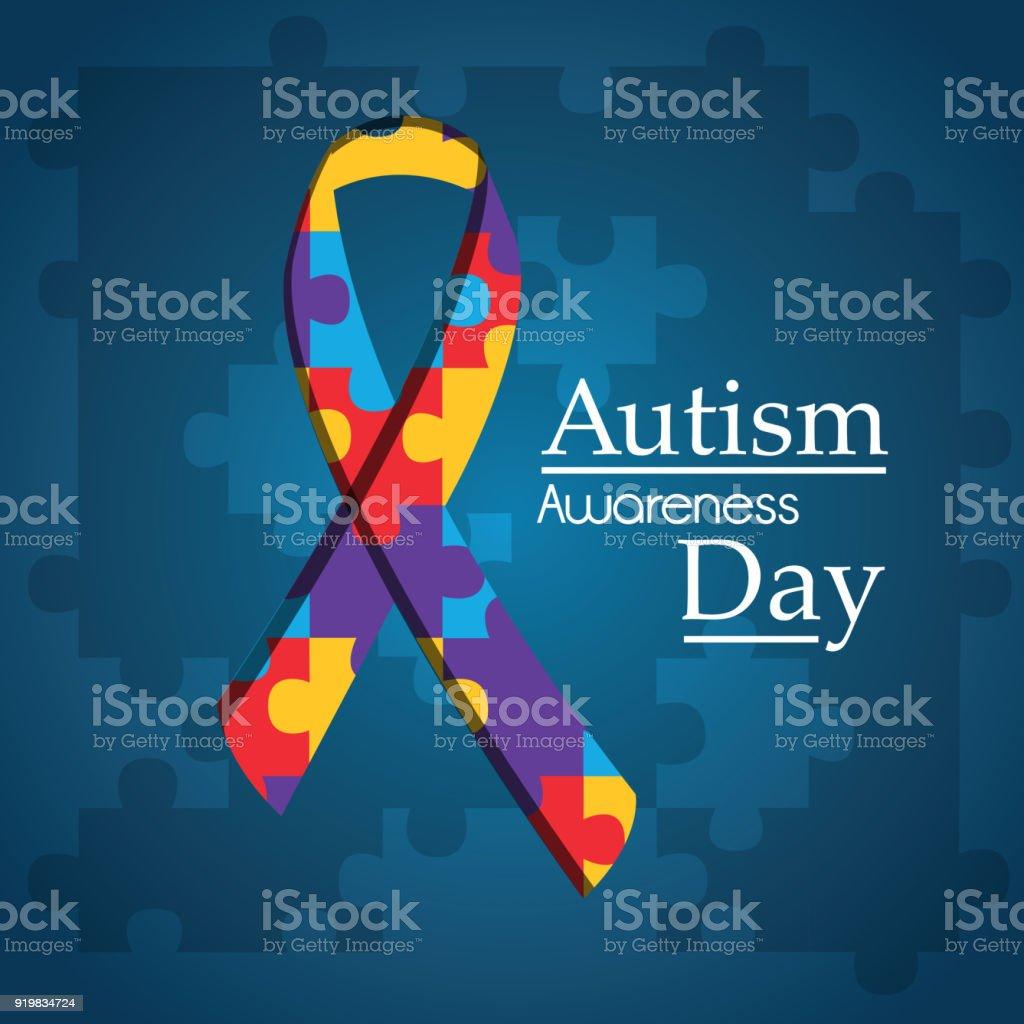 Autismo consciência dia puzzle forma fita azul fundo - ilustração de arte em vetor