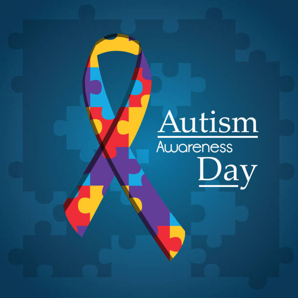 autism awareness day puzzle shape ribbon blue background vector art illustration