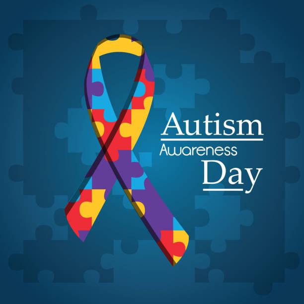 autism awareness day puzzle shape ribbon blue background autism awareness day puzzle shape ribbon blue background vector illustration autism stock illustrations