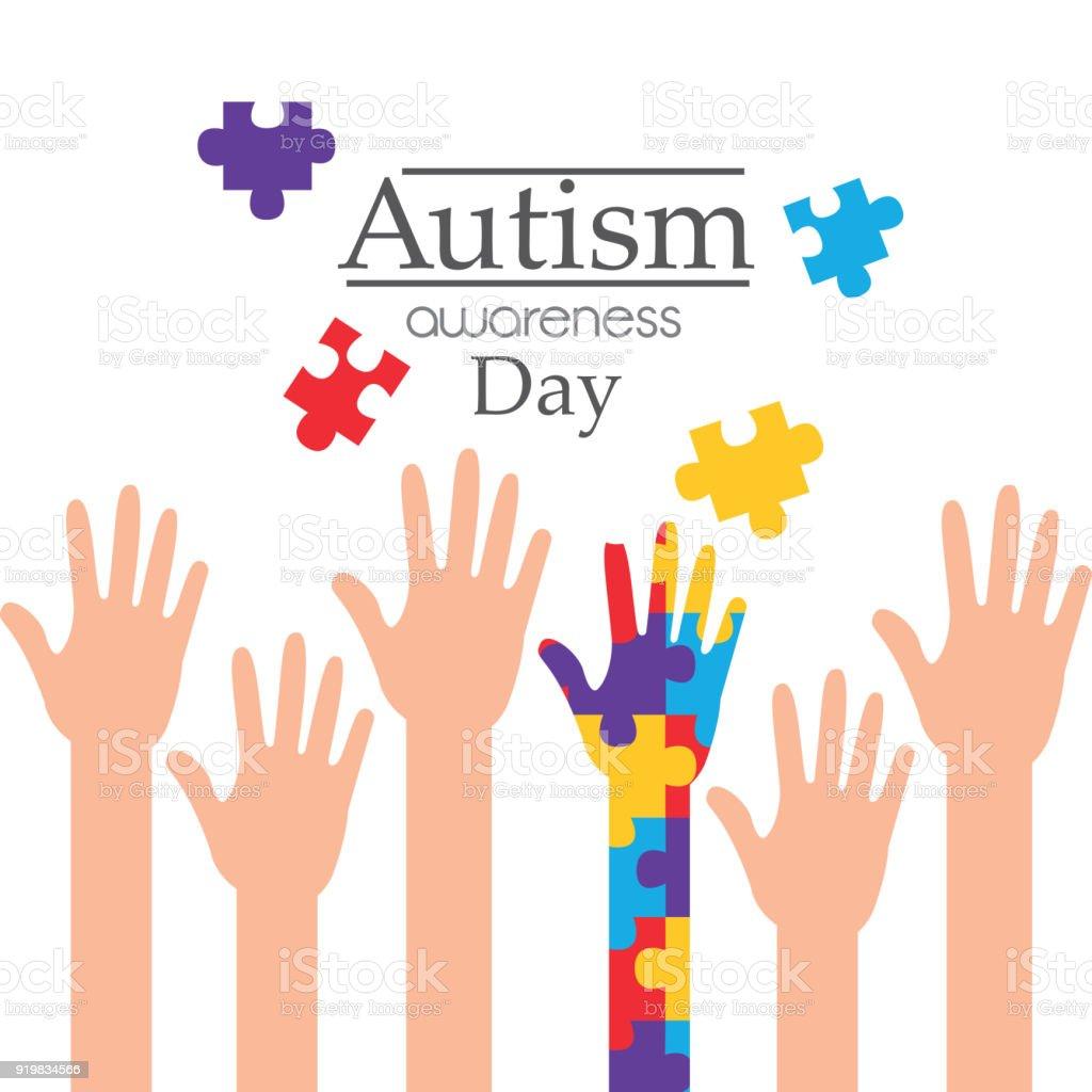 dia de conscientização do autismo criou a campanha de apoio de mãos - ilustração de arte em vetor