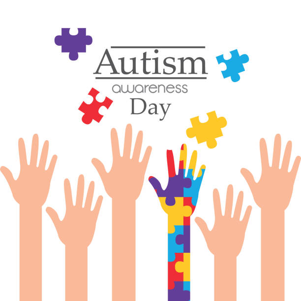 autism awareness day raised hands support campaign vector art illustration