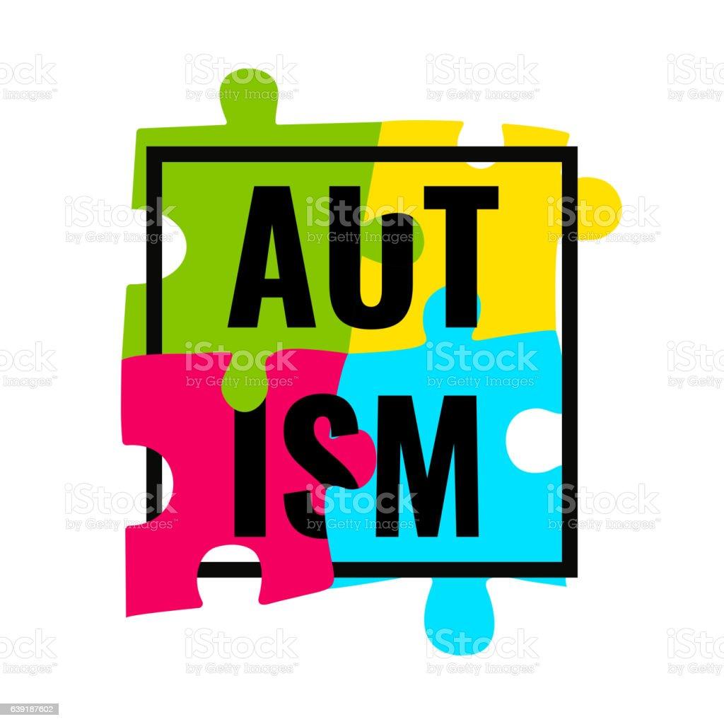 Autism awareness frame poster - ilustração de arte em vetor