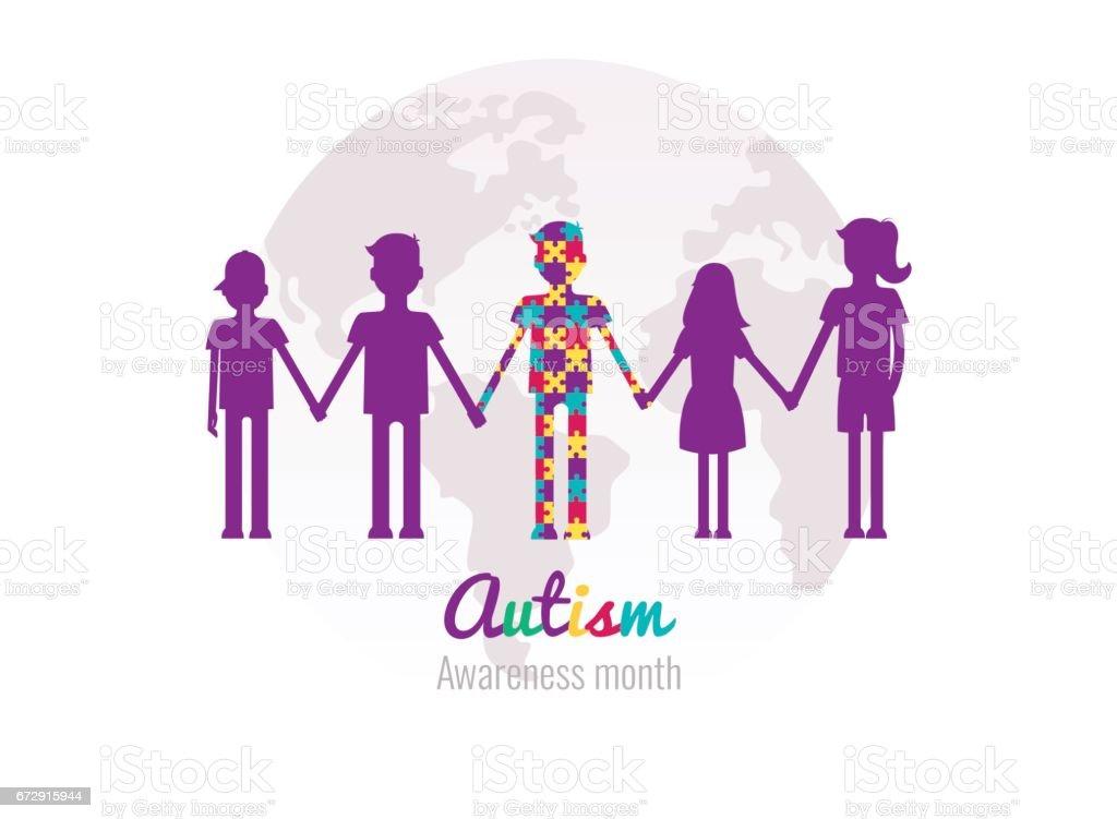 Autismo consciência mês fundo colorido com quebra-cabeças, miúdos e planeta. - ilustração de arte em vetor