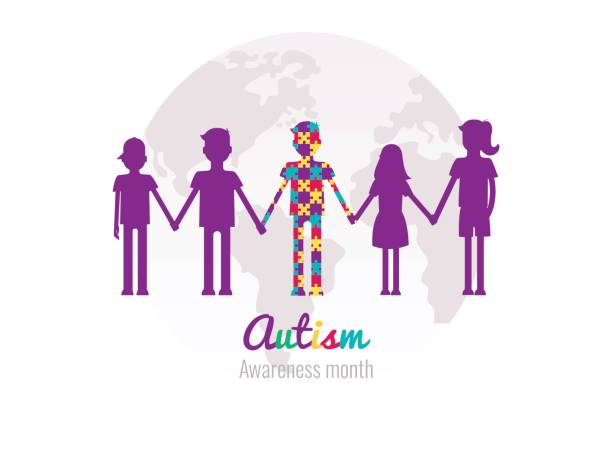 Autism awareness month colorful background with puzzles, kids and planet. vector art illustration