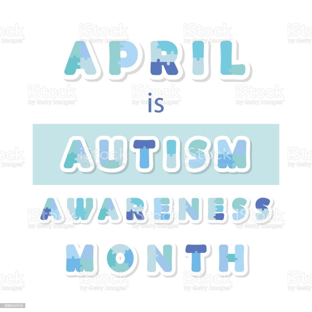 autism awareness month information banner puzzle letters paper cut