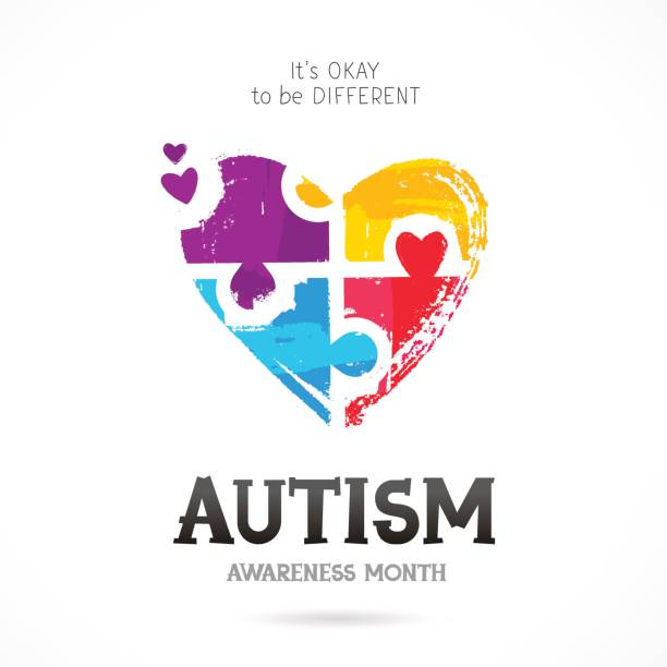 Autism Awareness Month. Puzzle Autism Awareness Month. It's okay to be different. Trend lettering. Multicolored puzzle in the form of heart of brush strokes. Healthcare concept. Vector illustration on white background. autism stock illustrations