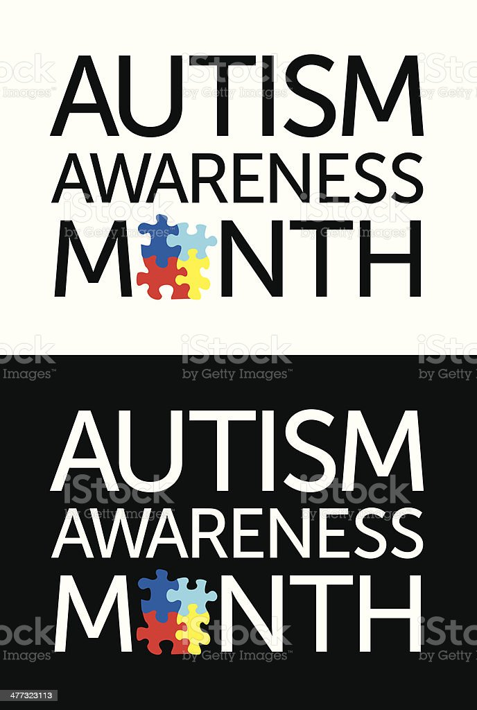 Autism Awareness Month vector art illustration