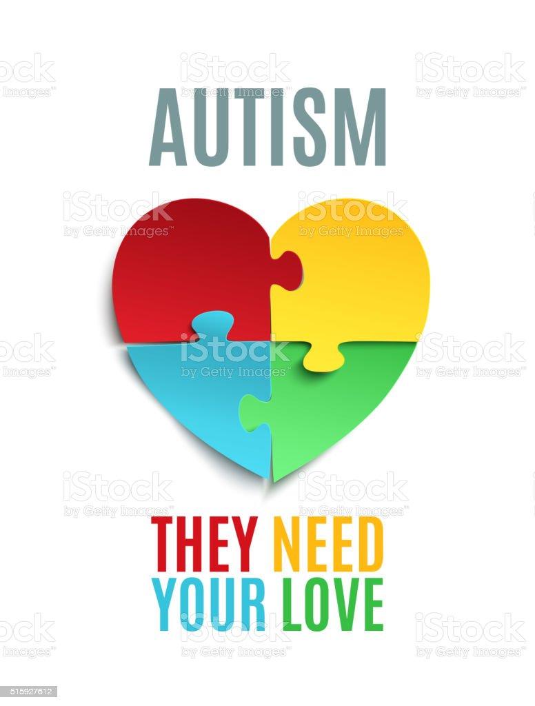 Cartaz da Consciencialização do Autismo brochura ou modelo. - ilustração de arte em vetor