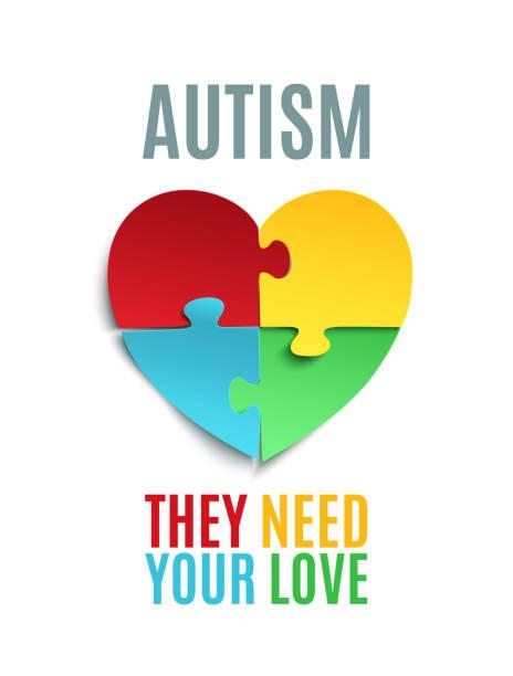 Autism awareness poster or brochure template. vector art illustration