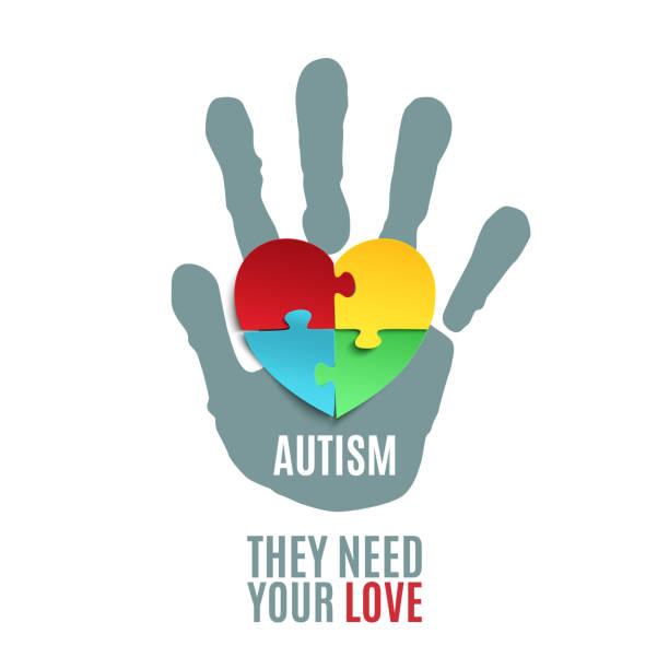 Autism awareness poster template. vector art illustration