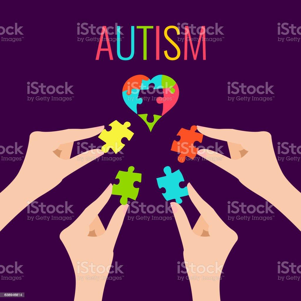 Autism awareness poster - ilustração de arte em vetor