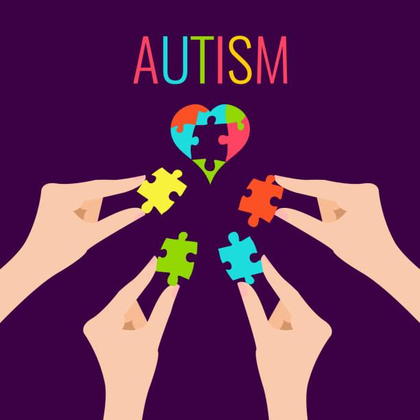 Autism awareness poster vector art illustration