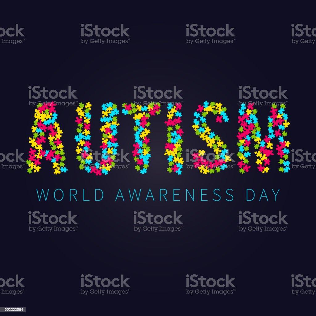 Cartaz de conscientização do autismo - ilustração de arte em vetor