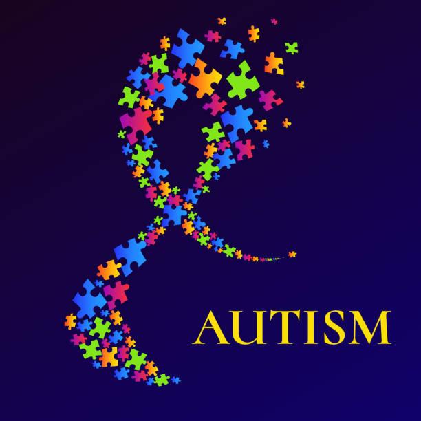 ilustraciones, imágenes clip art, dibujos animados e iconos de stock de cartel de concientización de autismo con cinta de colores multicolor - autism