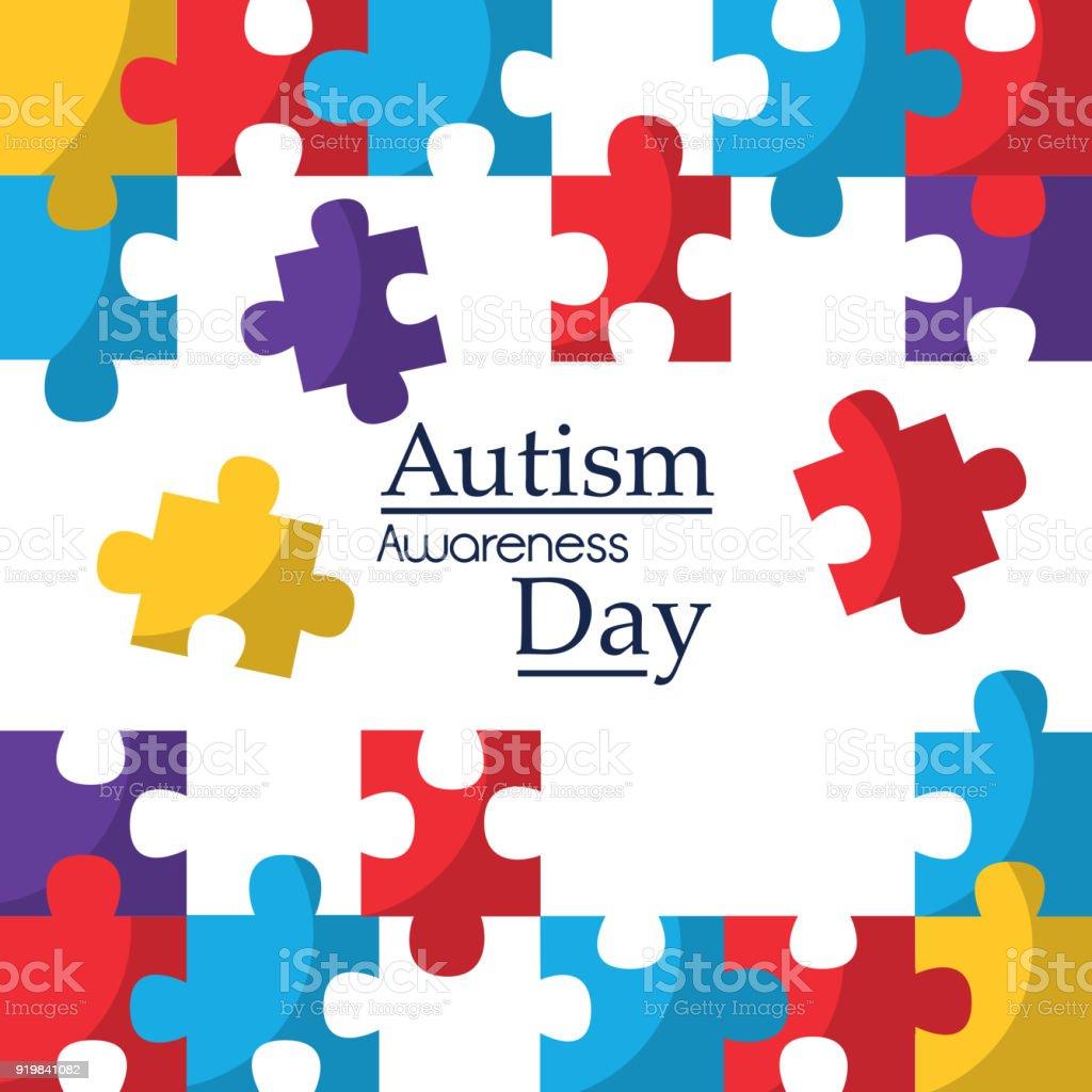 cartaz de conscientização do autismo com solidariedade de peças de quebra-cabeça e apoiar o símbolo - ilustração de arte em vetor