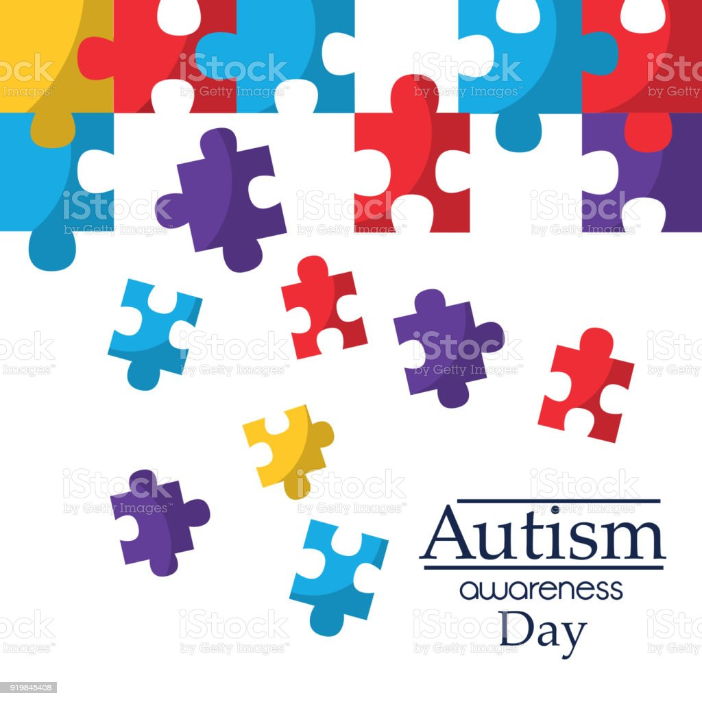 autism awareness poster with puzzle pieces solidarity and support symbol vector art illustration