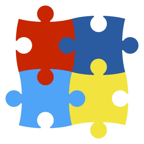 ilustraciones, imágenes clip art, dibujos animados e iconos de stock de piezas del puzzle de concienciación autismo - autism