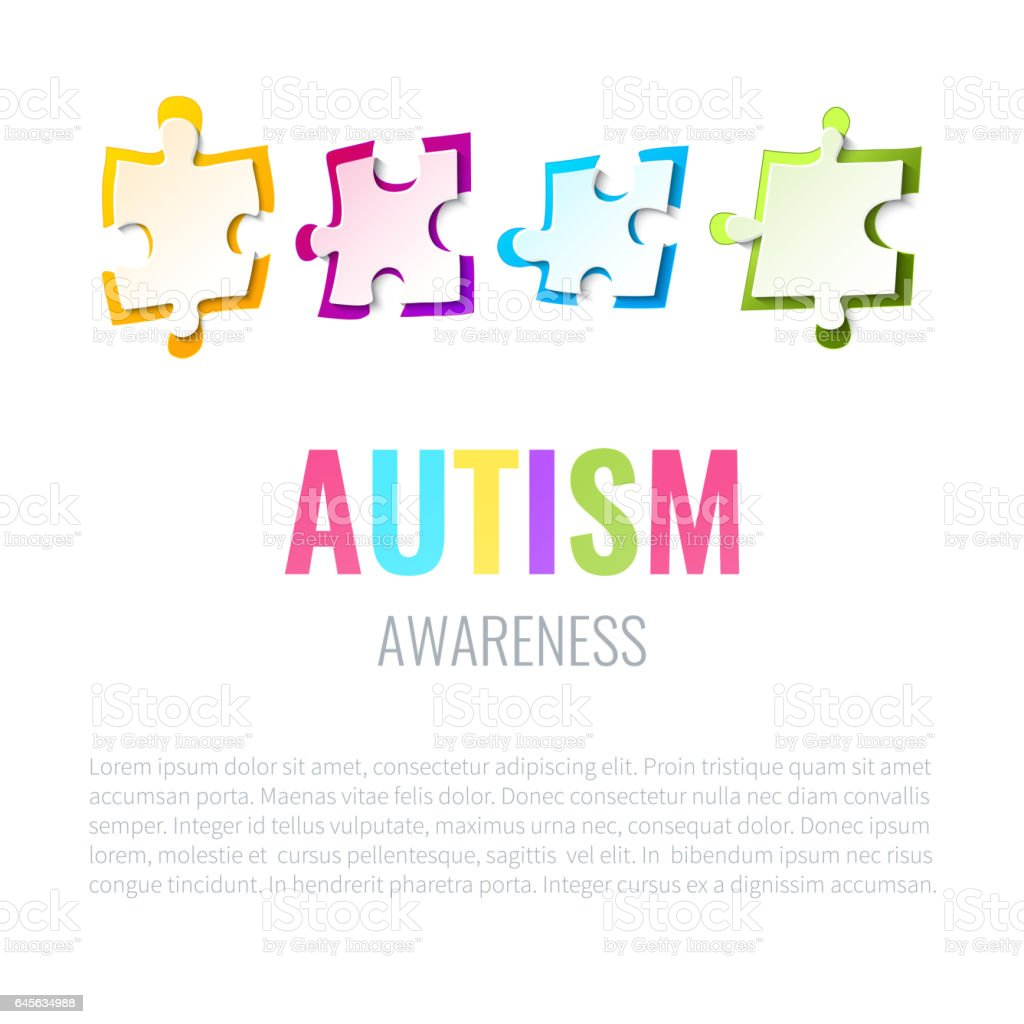 Pôster de quebra-cabeça de conscientização autismo - ilustração de arte em vetor